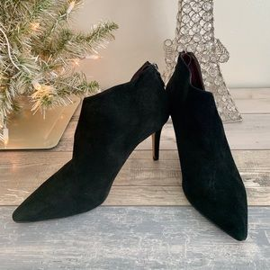 Black Suede Pointed Toe Heeled Bootie